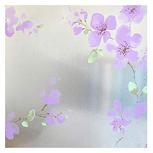 DODOING 45x100cm Sichtschutzfolie Milchglasfolie Fenster Folie Lila Blume Deko selbstklebend
