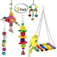 KOBWA - Jaula para Loro, Juguetes para Colgar pájaros, Juguetes de Escalada, Juguetes Coloridos, Loros, Accesorios Decorativos para pequeños periquitos, cacatúas, Macaws, pájaros de Amor, pájaros