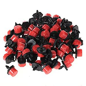 "ZFE 100Pcs Adjustable Irrigation Drippers Sprinklers Emitter Drip System On 1/4"" Barb"