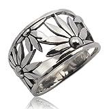 Thaimart Beautiful Sunflower Handmade Ring 925 Sterling Silver Size UK=P US=8