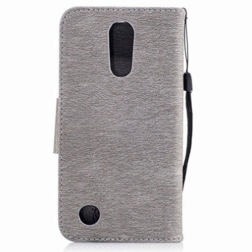 Yiizy LG K10 (2017) / X400 / M250N Custodia Cover, Fiore Di Farfalla Design Sottile Flip Portafoglio PU Pelle Cuoio Copertura Shell Case Slot Schede Cavalletto Stile Libro Bumper Protettivo Borsa (Por Grigio