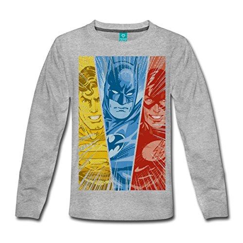 s Justice League Superman Batman Flash Kinder Premium Langarmshirt, 98/104 (2 Jahre), Grau meliert (Dc Comics Für Kinder)