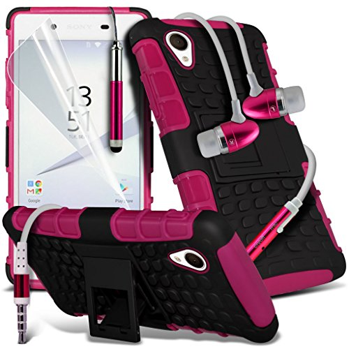 (Clear) Fall für <b>      Apple iPhone 6s hülle     </b>     Fall hochwertiges und haltbares Survivor TPU Clear Gel Case Hülle+ Aluminium Ohrhörer Ohrhörer von i-Tronixs Shock proof + Earphone (Hot Pink)