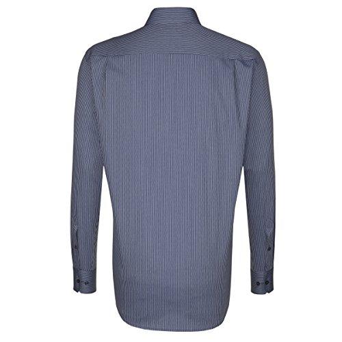 SEIDENSTICKER Herren Hemd Modern 1/1-Arm Bügelfrei Streifen City-Hemd Kent-Kragen Kombimanschette weitenverstellbar Blau