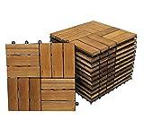 Giomoebel Holzfliese Variante 2 aus Akazien-Holz, 11er Set für 1 m², Garten-Fliese in 30x30 cm, Bodenbelag mit Drainagesystem