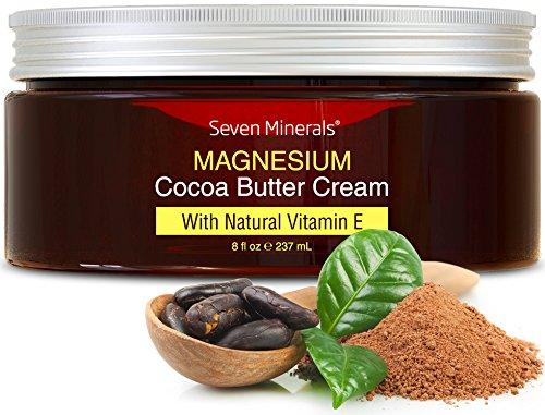 Crema Orgánica de Manteca de Cacao con Magnesio y Vitamina E - Mejor Prevención para el Embarazo - Crema para la Eliminación y Prevención de estrías - 100% libre de toxinas