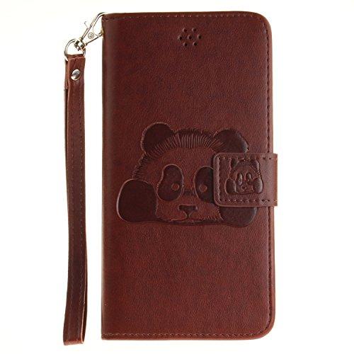 """Für iPhone 6 Plus/6S Plus 5.5"""" Gurt Strap Magnetverschluß Ledertasche Hülle,Für iPhone 6 Plus/6S Plus 5.5"""" Premium Seil Leder Wallet Tasche Brieftasche Schutzhülle,Funyye Stilvoll Jahrgang [Niedlicher Panda,Braun"""