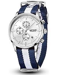 Reloj con cronómetro de Megir; FECHA, reloj deportivo de pulsera, de cuarzo con