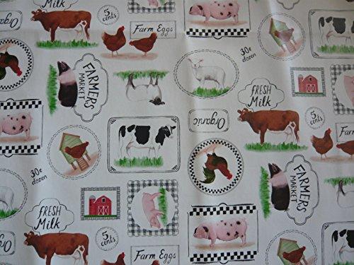 Farm Animals PVC VINYL OILCLOTH MATERIAL FOR TABLES APRONS CRAFTS ECT Length Half Metre (Vinyl Tischdecke Blue Navy)