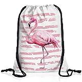 style3 Pink Power Rucksack Tasche Turnbeutel Sport Jute Beutel flamingo