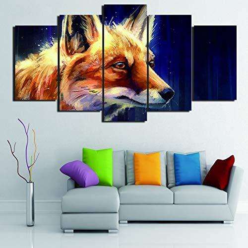 YXWLKG 5 aufeinanderfolgende Gemälde Wandkunst Modulare HD Wohnkultur Gedruckt Bilder Poster 5 Panel Tier Wald Fuchs Moderne Leinwand Wohnzimmer Malerei