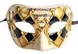 Masque de Masque de Masque Masque Vintage Masque Vénitien à Carreaux Mardi Gras (Or / noir à carreaux)