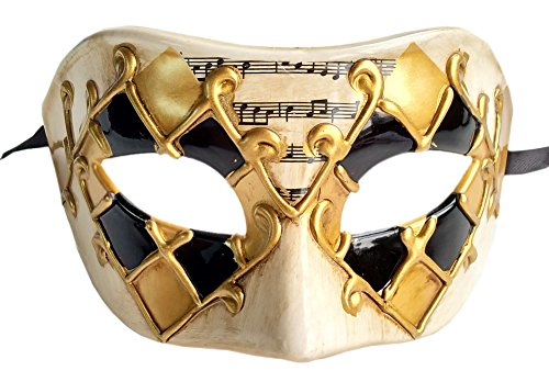 (Coolwife Herren Maskerade Maske Vintage venezianischen Checkered Musical Party Mardi Gras Maske (Gold / Schwarz Kariert))