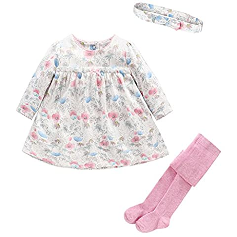 Bébé Filles 3pcs Ensembles Floral Robe T-shirt Longues Manches + Bandeau Leggings + Collants Enfant Tenues, 18-24 Mois