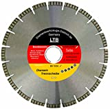 Diamant Trennscheibe LTB_Ø 350 mm, B= Ø 30,0 mm, Diamantscheibe Profi Qualität, Lasergeschweißte Turbosegment 10 mm,Stahlbeton + alle Betonprodukte, Granit, Ziegel, Universal,