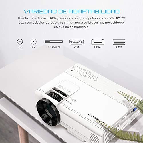 Proyector Crosstour Mini Portátil Videoproyector de Cine en Casa 50000 Horas de Vida LED Soporte Full HD 1080P HDMI/USB/VGA/AV/Micro SD (Incluye HDMI/AV Cable)