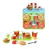 Toi-Toys 13560A Kinder Burger Set mit Tablett Service Zubehör für Kinderküchen Spielküchen Küchen Geschirr für Kinder Mädchen Jungen