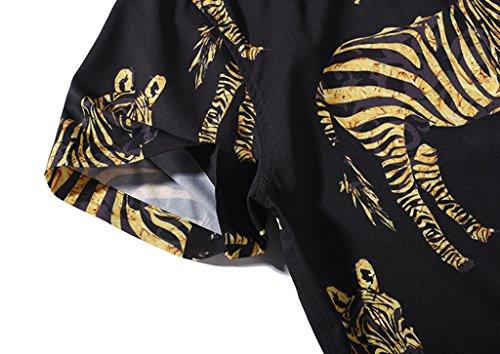 Pizoff Herren Hemdkragen mit Kurz Ärmeln Fashion Hip-Hop Tops Hemden mit Floral Blumen Luxus Palace Muster Y1782-07