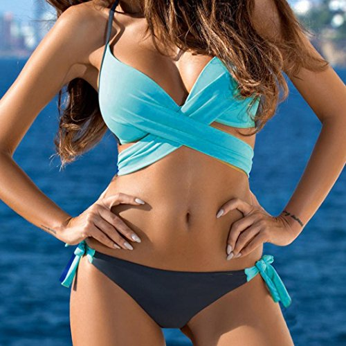 Kangrunmy Bikini Donna Sexy,Push-Up Imbottito Reggiseno Costume Da Bagno Sexy Donne Bikini Set Swimwear Bikini Donna Mare Brasiliano Push Up Cielo blu