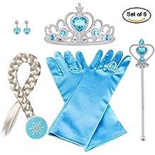 Vicloon 6pcs Princesse Dress-Up Accessoires pour Costume d'Elsa la Reine des Neiges Avec Tresse/Bague/Boucles d'oreilles/Gants/Diadème/Baguette Magique pour Carnaval 3-10 ans