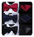 BIYINI Selbst Sich beugen Krawatte 3pcs Gemischtes Design Klassisch Herren Selbst-binden Krawatte Einstecktuch Mehrere Satze