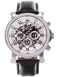 Automatik Armbanduhr von Boudier & Cie für Männer mit einem echten Diamanten mit Weißem Zifferblatt Analoger Anzeige und Schwarzem Armband aus Leder SK14H039