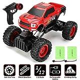 GoStock Ferngesteuertes Auto, 1:12 RC Geländewagen Off-Road Auto Ferngesteuerter Monstertruck, 4WD Buggy Rock Crawler, Auto Spielzeug für Kinder Jungen Mädchen - 2 Stück Akkus