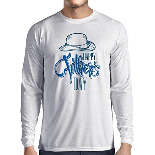 Langarm Herren t shirts Glücklicher Vatertag - bestes Geschenk von Sohn oder Tochter Weiß Mehrfarben