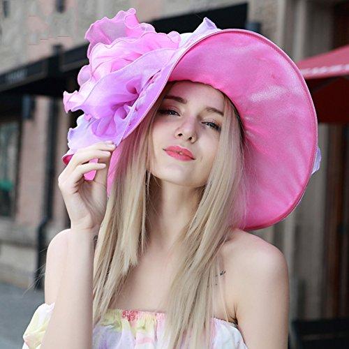 H.ZHOU Damen Sonnenhüte Hut-weiblicher Sommer-Visier-Sonnenschutz-im Freienstrand-Hut Europa Und Amerika-Küsten-Feiertags-Reise Sunhat Hüte & Mützen (Color : Pink) (International Td-6)