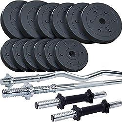 ScSPORTS® 45 kg Kunststoff Hantelset mit 1x Langhantel, 1x SZ-Stange, 2X Kurzhantel, 2x5 kg, 4x2,5 kg, 6x1,25 kg Hantelscheiben