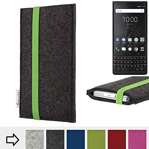 flat.design Handy Hülle Coimbra für BlackBerry KEY2 (Dual-SIM) handgefertigte Handytasche Filz Tasche fair grün dunkelgrau