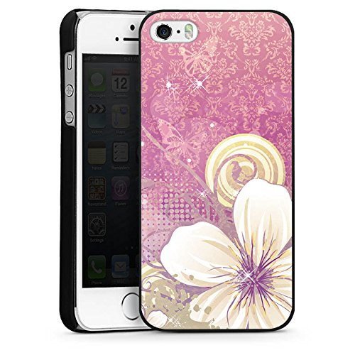 Apple iPhone 5s Housse étui coque protection Fleurs Fleurs Fleurs CasDur noir