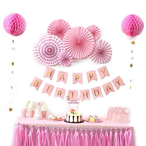 Sunbeauty decorazione series carta lanterna party pompom decorazione per feste, compleanno, san vlentines festival, rosa