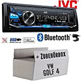 VW Golf 4 IV - JVC KD-X341BT - Bluetooth | MP3 | USB | Android | iPhone Autoradio - Einbauset