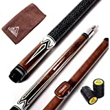 E101+CASE, 13mm Tip : Cuesoul 58 Inch 19 Oz 1/2 Jointed Maple Billiard Pool Cue