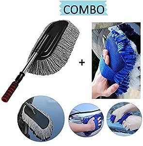 Lukzer Car Accessories Combo (2 PC) - 1 PC Microfiber Car Cleaning Retractable Brush Duster + 1 PC Multipurpose Car Cleaning Sponge (Random color)