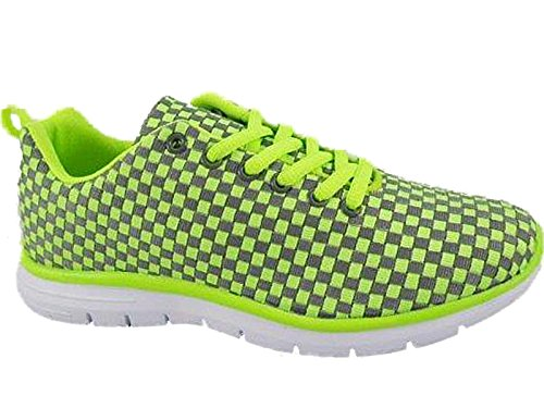 Airtech Baskets de running pour femme Grey/ Neon Green