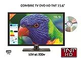 Televisión LED de alta definición + DVD, 39cm, para autocaravana, 220V/12V/24V