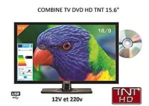 Télévision TV HD LED + DVD 39 CM pour camping car 220v/12v/24v
