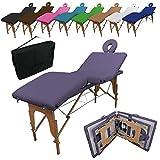Linxor France ® Table de massage pliante 4 zones en bois avec panneau Reiki + accessoires et housse de transport - Neuf coloris - Norme CE