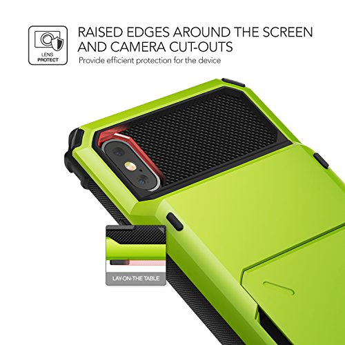 Cover iPhone X, VRS Design® Custodia [Turchino] Antiurto Folding Wallet [Damda Folder] Cover per Carte di Credito Perfetto Protezione per Apple iPhone X (2017) Verde Lime