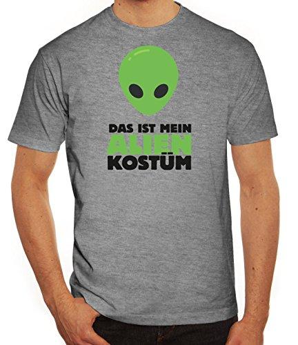 Fasching Karneval Herren T-Shirt mit Das ist mein Alien Kostüm 2 Motiv von ShirtStreet Graumeliert