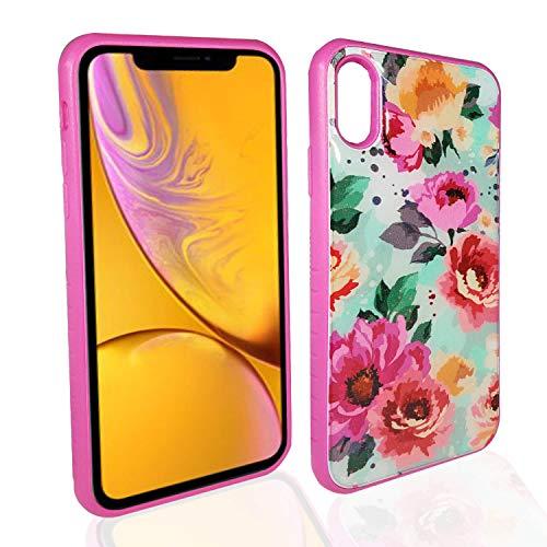 iPhone XS MAX Schutzhülle für iPhone XS, Schlankes Design, zweilagiger Schutz, Rutschfester Griff, hot pink ()