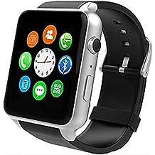 hipipooo Bluetooth reloj inteligente (gt88-update GT08) Monitor de frecuencia cardíaca reloj de pulsera con pantalla táctil HD cámara TF tarjeta podómetro Monitor de sueño compatible con Android y iOS sistema (plata)