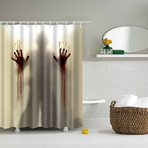LQZ Halloween Duschvorhang Blut Duschvorhänge Badvorhang Wasserdicht Ghosting (Halloween Duschvorhang)