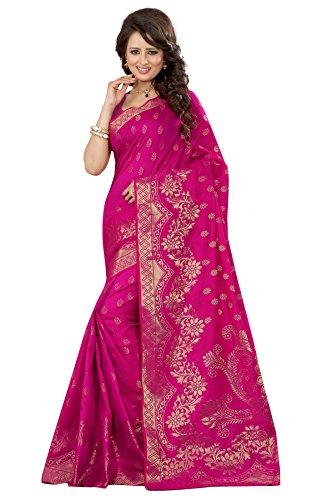 F-Fashion Women's Banarasi Silk Designer Saree_ Pink ( Sathiya wel Pink)  available at amazon for Rs.1199