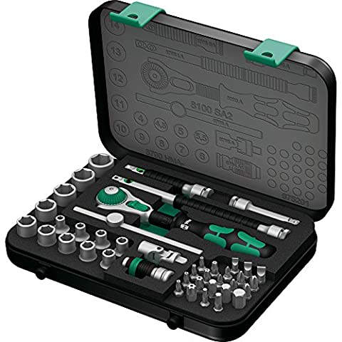 Wera 05003533001 8100 SA/SC 2 Zyklop Combination Ratchet Set, 1/4 inch Drive, Metric, 42 Piece
