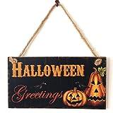 Kürbis Laterne Wand Türschild von lintimes Holz Schild Türschild Wandschild zum Aufhängen Halloween Home Dekoration