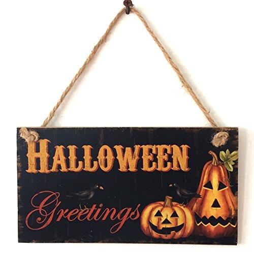 Kürbis Laterne Wand Türschild von lintimes Holz Schild Türschild Wandschild zum Aufhängen Halloween Home Dekoration (Halloween Beste Dekoration Haus)