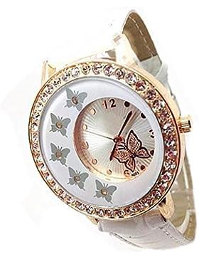 Damen Schmetterling Muster StrassQuarz Armbanduhr Watch Weiß